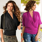 Sexy Women Ladies V Neck Wrap Batwing Short Sleeve Tops T Shirt Blouse Plus Size