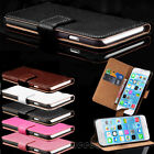 Genuine Real Leather Flip Card Wallet Stand Case Cover For iPhone/Samsung Phone