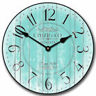 Harbor Turquoise LARGE WALL CLOCK 10- 48 Whisper Quiet Non-Ticking WOOD HANDMA