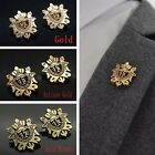 Fashion Men Suit Brooches Metal Shield Gold Lapel Pin Party Wedding Accessories
