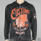 Affliction Arapaho Men's Zip Hood A6985 Black Lava Wash NWT