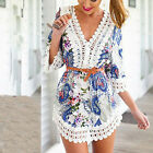 Vintage Women Summer Sleeve Casual Party Evening Cocktail Short Mini Beach Dress