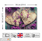 LARGE HEART PURPLE FLOWERS ON WOODEN BACKGROUND STRETCHED CANVAS WALL ART PRINTS