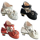 Girls kids Children Sandals Wedding Bridesmaid Party Low Heels 7-3