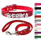 Rhinestone Personalized Cat Dog Collar & Leash Set with Free Name Charm XS S M L