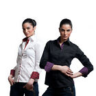 Italian Design Women Slim Fit Formal Shirts Smart Casual Arm Patches Size 8 - 24