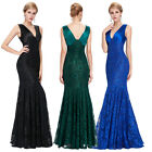 Women Lace Wedding Dress Formal Long Evening Bridesmaid Party Cocktail Prom Gown