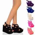 WOMENS LADIES BLACK STRAPPY SANDALS HIGH WEDGE SHOES SANDAL SIZE 3-8