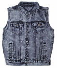mens acid washed denim jacket - Men's Vest Acid Bleach Washed Denim Biker Jacket Sleeveless.