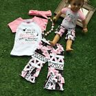 3PCS Toddler Kids Baby Girls Clothes T-shirt Tops+Pants+Headband Outfits Set