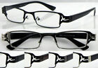 L418 Mens Reading Glasses Metal Frame Cut-out Design+75+100+125+150+175Good Deal
