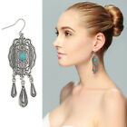 New Women Tassel Earrings Silver Plated Turquoise Drop Vintage Jewelry