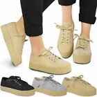 Womens Ladies Flatforms Espadrilles Lace Up Glitter Skaters Trainers Shoes Size