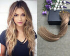EXTRA THICK BALAYAGE OMBRE CLIP IN REMY HUMAN HAIR EXTENSIONS BROWN BLONDE
