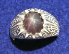 MEN'S 10x8mm 3+ CT TRANS PURPLE LINDE LINDY STAR SAPPHIRE CREATED SECOND RING SS