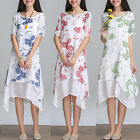Vintage Women Boho Floral Cotton Linen Short Sleeve Loose Long A-line Sun Dress