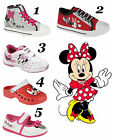 NEW GIRLS KIDS DISNEY MINNIE MOUSE TRAINER CANVAS GLITTER LACE UP RIP TAPE SHOES