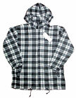 Mens Checker Flannel Fleece Zipper Front Hooded Windbreaker Hoodies M - L NEW