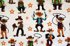 Polycotton Children's Cowboys Guns Whips Western Print On Beige Fabric