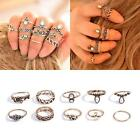 Fashion 10Pcs/Set Vintage Knuckle Carved Crystal Gem Elephant Moon Midi Ring