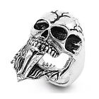 Mens Heavy Biker Ring Skull Tongue Stainless Steel Band US Size10-15