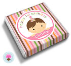 Personalised PINK STRIPES Baby Girl's 1st Birthday Party Bag Favour Chocolates