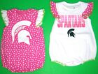 Michigan State Spartans Baby Girls 2 Pc Bodysuit Set NWT 3-6M or 6-9M  MSRP $36