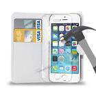 Apple iPhone 5S,6 & 4S PU Leather Wallet Case Cover & Tampered Glass Protector
