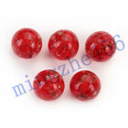 14mm Round Czech Glass Gold Foil Dot Spacer Beads Jewelry Making 5/10pcs