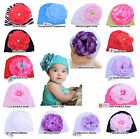 Beautiful Cotton Softy Jersey Girls and Baby Hats, Beanies With Big Flower Gift!