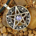 Inverted Star Pentagram Pentacle Light Violet Crystal Satanism Wicca keychain