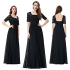New Ladies Black Chiffon Lace Evening Ball Formal Party Cocktail Dress Long Prom
