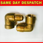 """BRASS GAS FIRE INLET ELBOW VALOR  / CANNON / ROBINSON WILLEY 1/4"""" 3/8"""" FEMALE"""