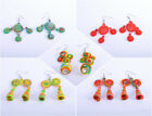 Earrings Handmade Women African Style Hoops Fabric Cotton Colourful Accessory