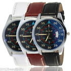 Men's Blue Ray Glass Watches Fashion Faux Leather Quartz Analog Wrist Watches