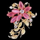Big Crystal Rhinestones Gold Plated Charms Breastpin Brooches Pin Women Jewelry