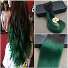 100% Ombre Human Remy Hair 120Gram T1B Green Indian Remy Clip In Hair Extensions