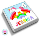 Personalised UNICORN Rainbow Girl's 2nd 3rd 4th Birthday Party Favour Chocolates