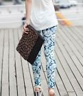 Colorful Women Girls Slim Skinny Print Punk Funky Stretch Pencil Pants Trousers