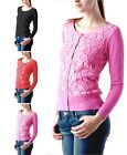Scoop-Neck Long Sleeve Lace Front Knit Sweater Cardigan Top S M L