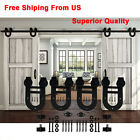 6/10/12/16FT Black Double Horseshoe Sliding Barn Door Hardware Closet Track Set