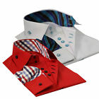 Men's Slim Fit Red Shirt with Turquoise Trim Casual Men Wear