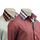 Mens Shirt Italian Design With Contrast Collar Casual Smart Wear Size S-XXL