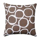 Brown Throw Pillow, Freehand Italian Brown Circle Pillow, Retro Throw Pillow