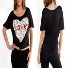 T33 Womens Black Cute Owl Print Casual Work Office Chic Beach Party Blouse Tops