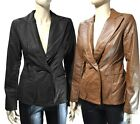 Faux Leather Long Sleeve Two Button BLAZER JACKET S, M, L