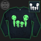 Kodama Family Ghibli Mononoke Totoro Glow In The Dark Jumper Sweater Black NEW