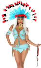 Forplay Native American Indian Tomahawk Hottie Blue Costume 4pc