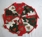 Hand Made 10ft 13 Flag or 6ft 10 Flag Christmas Fabric Bunting Garland (tree)