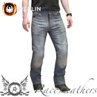 ROUTE ONE HOUSTON GREY REINFORCED PROTECTIVE MOTORCYCLE BIKE JEANS + KNEE ARMOUR